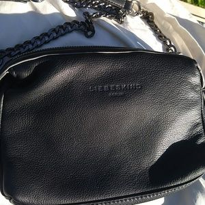 Blk soft leather crossbody/clutch